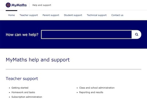 Screen shot of MyMaths support site