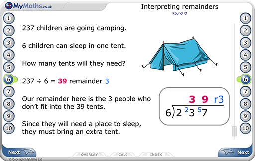 Primary MyMaths interpreting remainders example