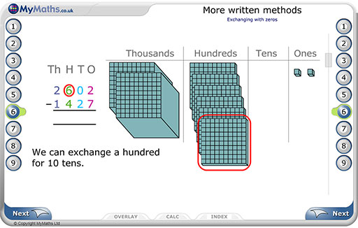 Primary MyMaths written methods example