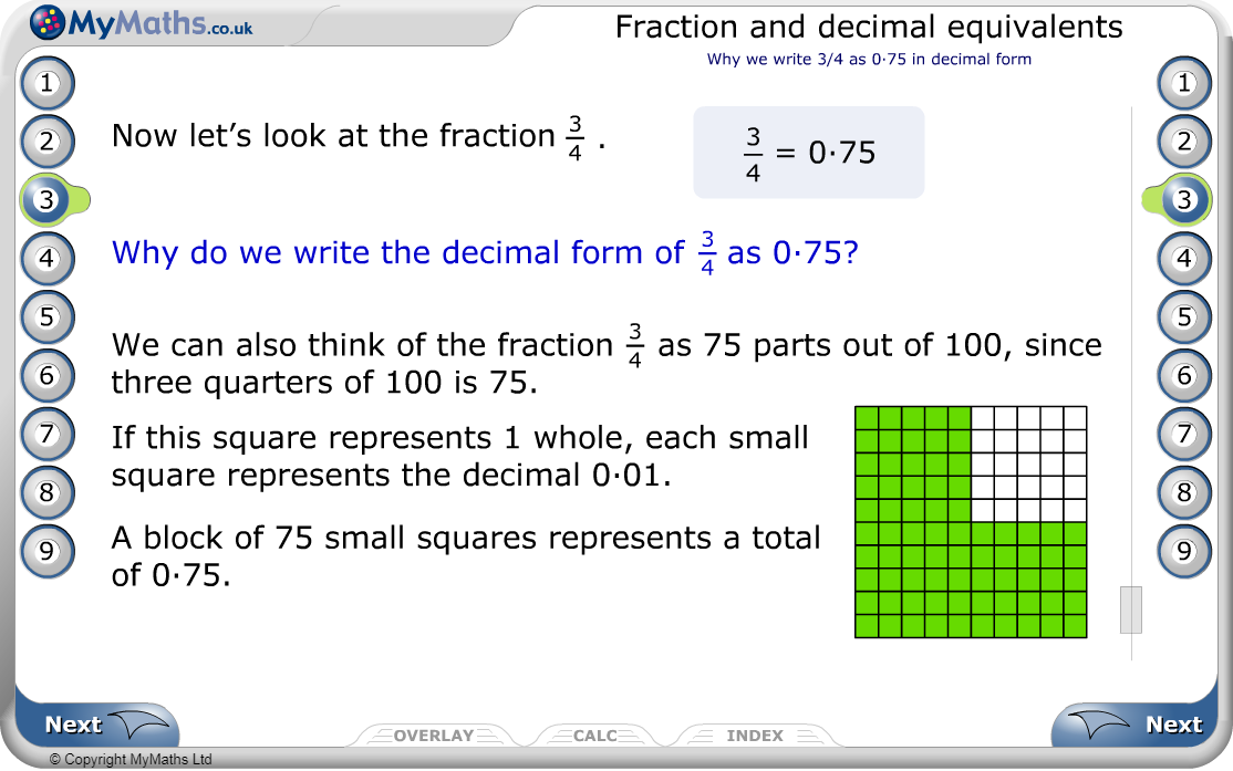 Fraction and decimal equivalents