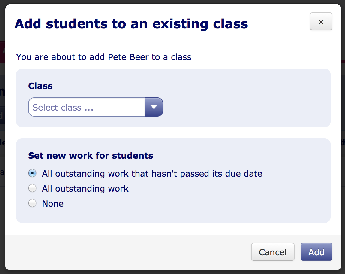 add student to class modal