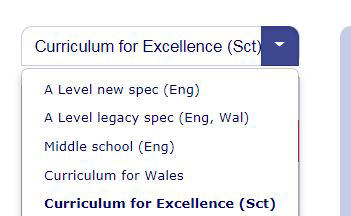 Secondary Curriculum Selector - CfE Scotland